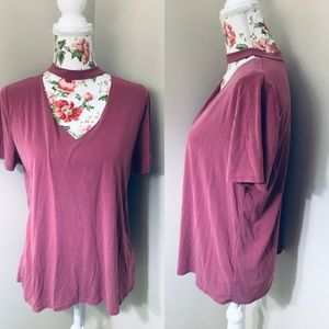 Tops - Dusty rose suede soft choker top